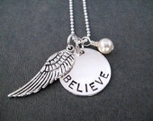 I BELIEVE Round Pendant Sterling Silver Necklace with Swarovski Pearl or Crystal - 16, 18 or 20 inch Sterling Chain - Angel Wing Necklace