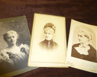 Cabinet Card Vintage Photo Lot of 3 Women