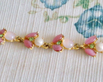 REDUCED  Pink Bracelet with Pearls, Opals, Green Rhinstones