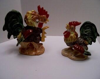 Vintage Pair of fighting roosters