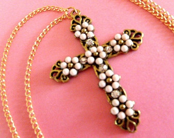 Fleur di Lis Brasstone Cross Pendant, Cross with Pink & Gold Beads and Rhinestones, Vintage Cross with Goldtone Neck Chain Cross Necklace