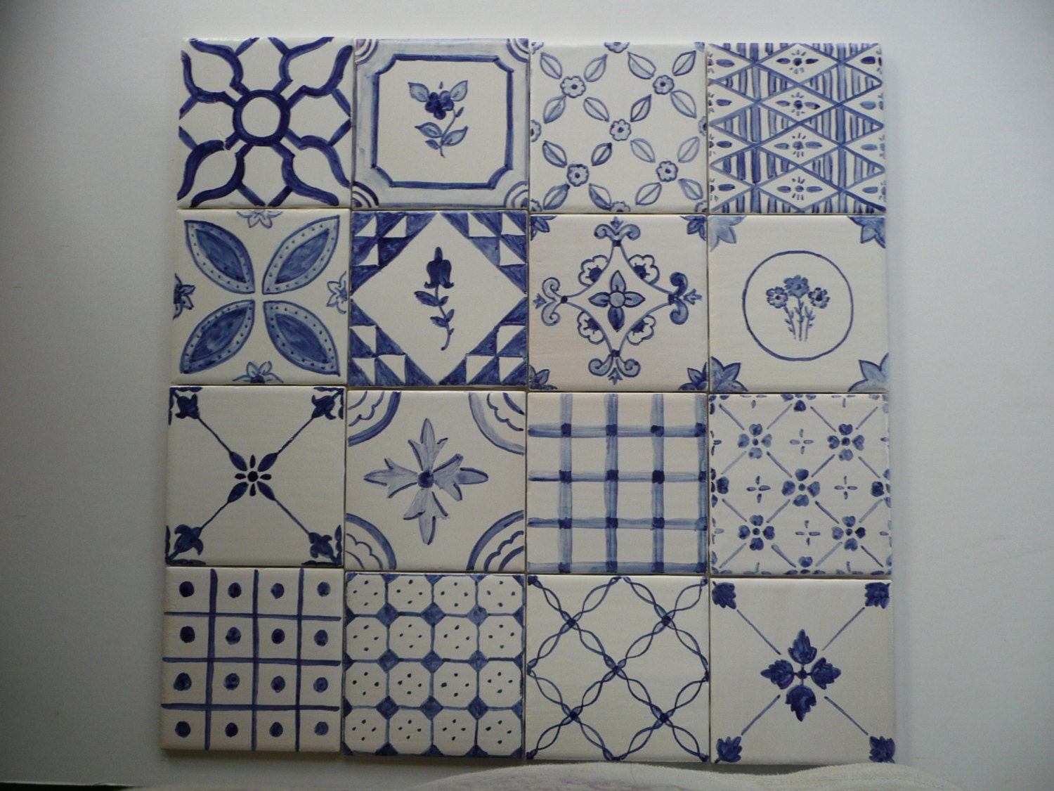 Blue And White French Country Majolica Patchwork Ceramic Tiles