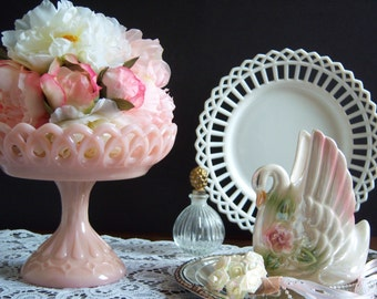 Fenton Pink Milk Glass Compote - Fenton Lace Edge Compote - Wedding Milk Glass - Fenton Compote - Vintage Wedding - Pink Milk Glass Compote