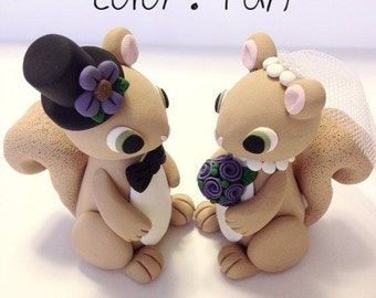 Squirrel Wedding Cake Topper - Choose Your Colors