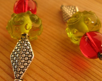 Christmas in July sale earrings with lime green and bright red
