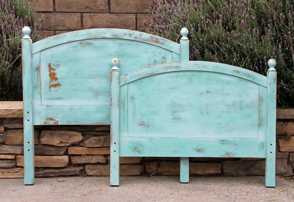 Twin Headboard And Footboard Vintage Chic Painted And