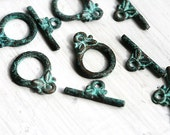 5 sets Toggle clasp, Patina on copper, Greek beads, jewelry findings, 14mm clasp, rustic, jewelry making, metal findings - F195