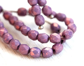 4mm Purple Lustered czech faceted beads, fire polished spacers, round beads - 50Pc - 1687
