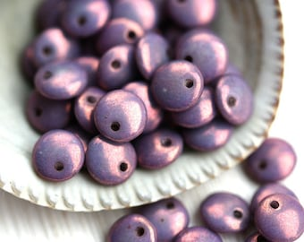 6mm Lentil beads, czech glass beads, top drilled, picasso beads, spacers - Purple luster - 50Pc - 1787