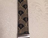 Black & Tan Scallop Fabric Wristlet Key Ring  **Free Shipping**