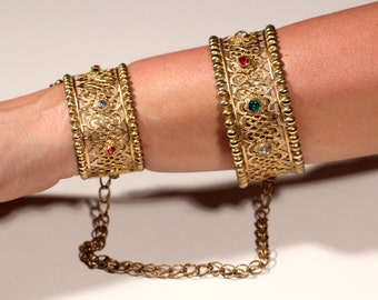 From A Private Collection Antique Bracelet Gold Tone Bracelet And Bangle Duo French Theater Bracelet Rhinestones Collectible Bracelet