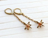 Star Earrings .. brass star earrings, celestial earrings, chain earrings, star dangle earrings
