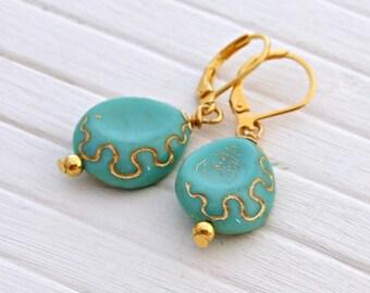 Turquoise and Gold Earrings .. blue gold earrings, blue dangle earrings, jewellery, aqua earrings, teardrop earrings