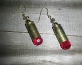 Bullet Jewelry 9 mm Brass Earrings Red Crystal