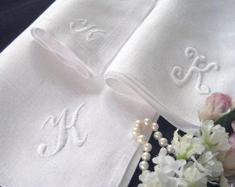 3 Elegant Vintage Linen Napkins, Monogrammed Letter K, Eclectic Set, Damask, Classic, Hem Stitched, Snow White