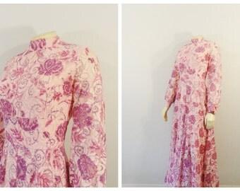 Vintage Jumpsuit RARE 1960s 60s Pink Lace Palazzo Pants Jumpsuit Onsie Vintage Formal Pantsuit Modern Size XS - S