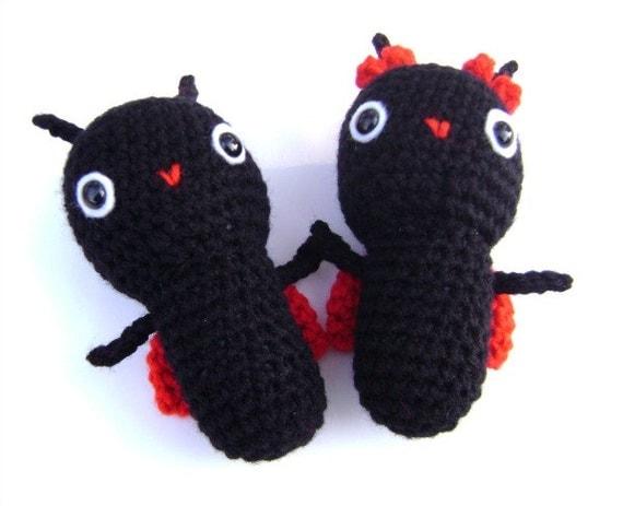 Crochet Valentines Day Love Bugs Amigurumi Valentine Decor Decoration Toy Shelf Sitter Set of 2