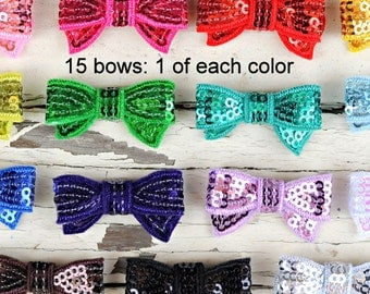 Mini Sequin Bows - 1.5 Inch Sequin Bows - Set of 15 - 1 of Each Color - Wholesale Sequin Bows For Headbands and Clips