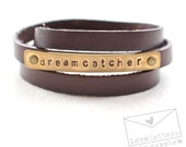 dreamcatcher: leather wrap bracelet hand stamped brass and brown leather, july supply loveletters
