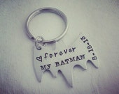 Personalized Keychain - Bat Keychain Personalized Hand Stamped BAT Keychain Gift for Him Forever My Bat man - Father's Day Gift