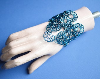 Metallic blue iridescent beaded Art Deco inspired Jewellery bracelet cuff: Ready to ship, one off unique piece