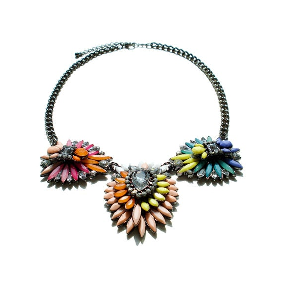 Statement Gem Flower Necklace