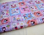 "3261C  - 1 yard Vinyl Waterproof Fabric - Cartoon - Lovely girls and patch (pink) - 57""x36"""