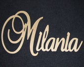"""SPECIAL PRICING - Connected Wooden Name - Unpainted - 18"""" Size - Large Elegant- Wood Letters - Personalized Nursery Family Wall Decor"""