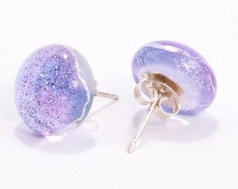 Lilac stud earrings fused glass dichroic sterling silver lavender purple jewellery jewelry teacher teachers gifts presents wedding birthday