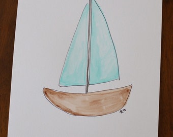 Watercolor Painting - Sailboat