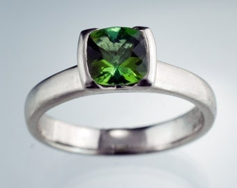 Green Tourmaline Engagement Ring, Solitaire Ring Cushion Cut Half Bezel Setting, in Sterling Silver, White, Yellow or Rose Gold, Palladium
