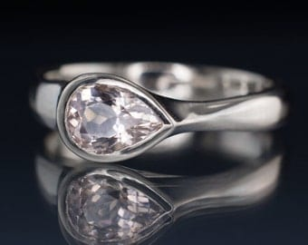 Pink Morganite Tear Drop Bezel Engagement Ring in Palladium, Platinum, White Gold, Yellow or Rose Gold - Pear Genuine Morganite Ring