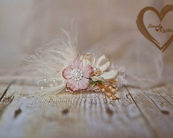 Rustic and Enchanting 2 flower Creamy Newborn Headtie Earthy Neutrals 1st Baby photo shoots newborn baby fits all delicate SHIPS FREE*