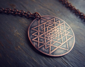 Sri Yantra Necklace  - Etched Copper Sacred Geometry Pendant