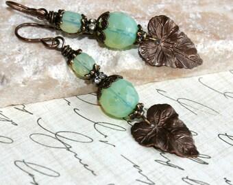Leaf earrings, Mint Opal glass earrings, dangle earrings,  Vintaj brass jewelry