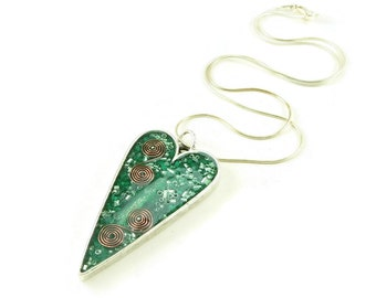 Orgone Energy Pendant - Large Antiqued Silver Heart - Green with Malachite - Orgone Jewelry - Artisan Jewelry