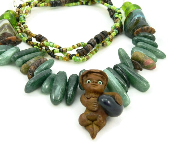 Green Woodsy Knome Chunky Statement Necklace - Gemstone Necklace - Asymmetrical Necklace - Artisan Jewelry