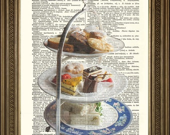 """Afternoon Tea Cake Stand VINTAGE DICTIONARY PRINT: Wall Hanging Art (size 8 x 10"""")"""