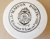 French Paris cosmetic lid white ceramic with black transfer print