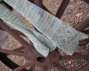 Sea-Foam Scarf Hand-knit lace women's scarf very soft alpaca