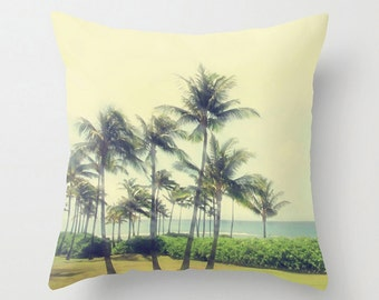 Palm Tree Accent Pillow, Tropical Sofa Pillow, Coastal Decor, Beach House Decor, Throw Pillow, 18x18 22x22 Decorative Pillow Cushion Decor