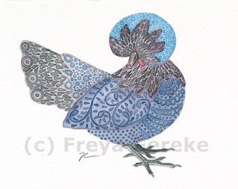 The Blue Polish Hen - Giclee