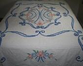 Bright Queen Size Chenille Bedspread