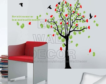 PEEL and STICK Removable Vinyl Wall Sticker Mural Decal Art - Giant Trees and Birds II