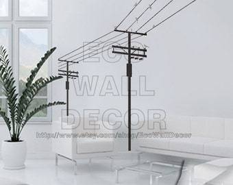 PEEL and STICK Removable Vinyl Wall Sticker Mural Decal Art - Electric Pole and Birds