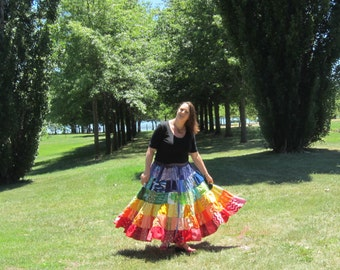 Plus size patchwork skirt, available in rainbow or custom colours, made to measure, handmade from upcycled materials
