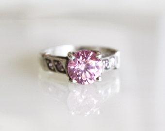 Vintage Pink Tourmaline Sterling Silver Ring / Size 4 1/2