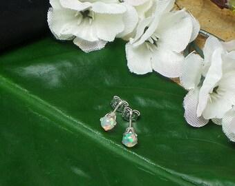 Ethiopian Opal Earrings, Finished Sterling Silver Earrings, Natural Ethiopian Fire Opal, Opal 4 mm