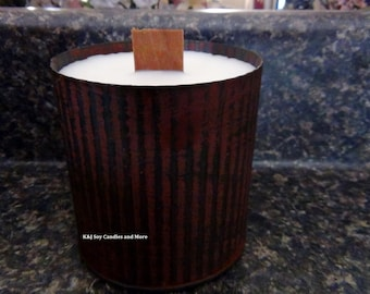 14oz 100% SOY Candle in a Corrugated Rustic Can with Woodwick. Choose Your Scent. Natural. Long Burning. Eco-Friendly. Made To Order