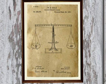 Weighting scales poster Vintage art Antique home decor Patent print AKP129